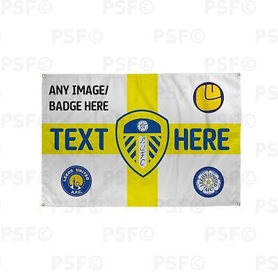 Leeds United FC Official Personalised St George Yellow Flag Crest Banner LB017