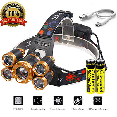 150000LM 5-LED USB Rechargeable 18650 Headlamp Headlight Head Light with Battery
