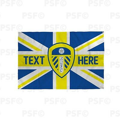 Leeds United FC Official Personalised Union Jack LUFC Colours Flag Banner LB018