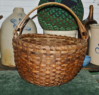 BEST Antique 1800's Maine Handmade Gathering Picking Basket Woven Splint AAFA