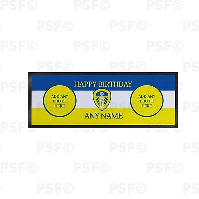 Leeds United FC Official Personalised Happy Birthday Photo Bar Runner LBR008