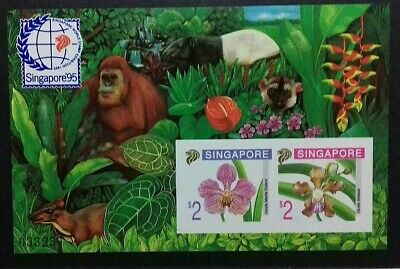 """Limited Singapore 1995 5Th Orchids Series """" Imperforate """" Miniature Sheet Mnh Og"""
