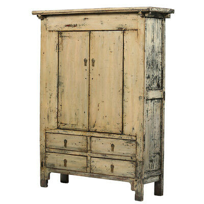 Cream-Grey Vintage Chinese Cabinet from Shanxi