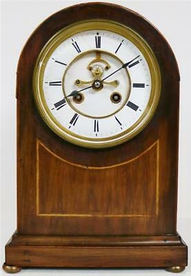 Antique French 8 Day Arched Top Mahogany Mantel Clock & Inlaid Decoration