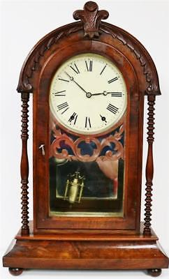 Antique American Carved Walnut Spring Driven Striking Drop Dial Bracket Clock
