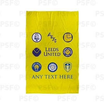 Leeds United FC Official Personalised Retro Badges Yellow Beach Towel LBT005