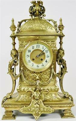 Large Antique French 8 Day Highly Embossed Bronze Ormolu Ornate Mantel Clock