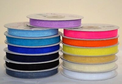 Organza Ribbon 10mm x 50 yrds. Variety of colours. choose colour