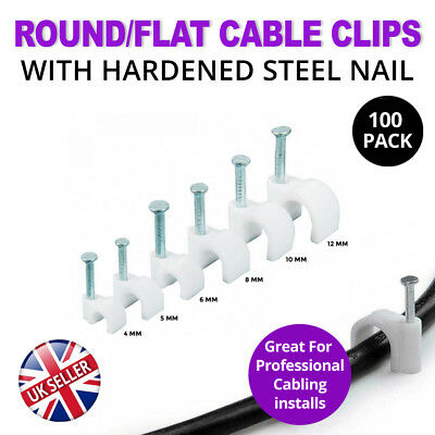 Round White Cable Wire Wall Clip with Fixing Nail to LED CCTV (4-14mm 100 Pack)