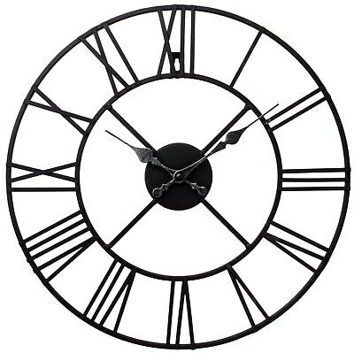 Large Outdoor Garden Big Wall Clock Roman Numerals Giant Open Face Metal 40,60Cm