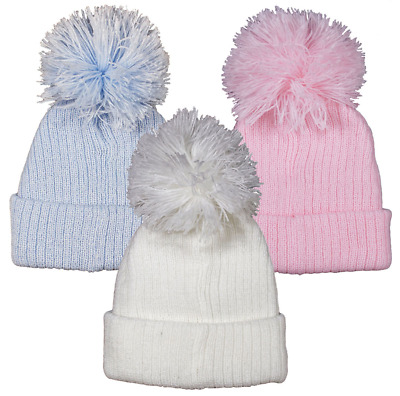 Baby hat POM POM bobble rib ribbed knit winter warm