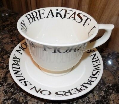 Emma Bridgewater Black Toast Large Cup & Saucer  New First Quality