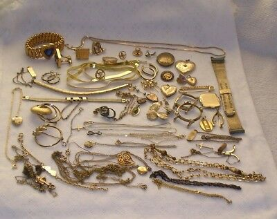 Antique Vintage Gold Filled Rolled Gold Plate Jewelry Scrap Items 223 Grams