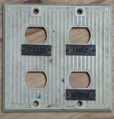 Uniline Ivory Colored Bakelite Four Plug Plate with Brass Plates