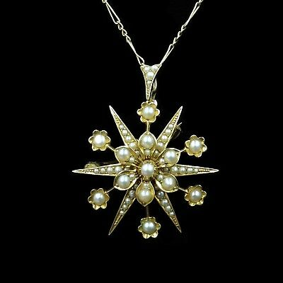 Antique Victorian Pearl Star 15ct 15K Yellow Gold Pendant and Brooch Pin c.1880