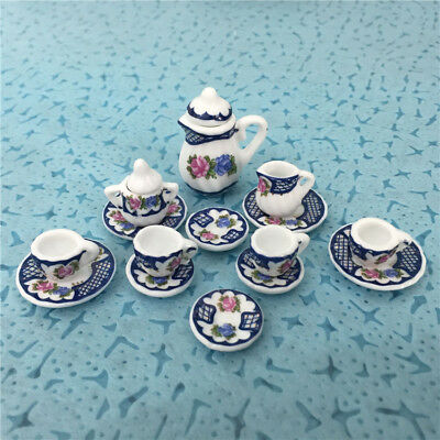 15pcs Dollhouse Miniature Dinnerware porcelain Coffee Tea Set Pot Cup Dish 1:12