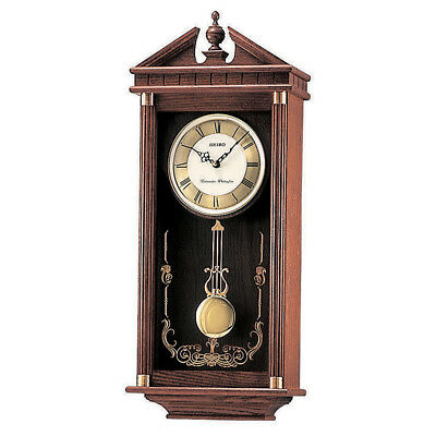 Seiko Analogue Pendulum Wall Clock, Westminster & Whittington Chimes, Wooden