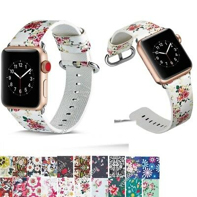 38/44mm Flowers Leather Wrist Watch Strap Band for Apple Watch 4/3/2/1 Series