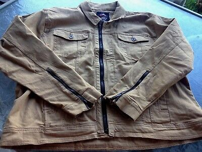 9dddca2df04 Jordan Craig Men's Bomber Tan Brown Jacket Sz 2X 3X Zippered Cuffs Cotton  Lycra