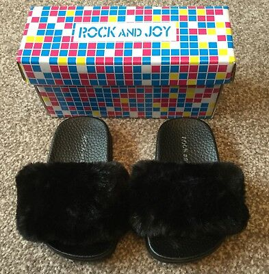 Baby Girls 'rock And Joy' Black With Fur Trim Sliders. Size 19. Bnib