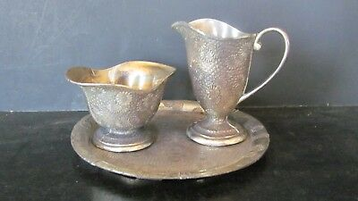 Antique / Vintage Silver Plate Sugar, Creamer And Tray, Ornate