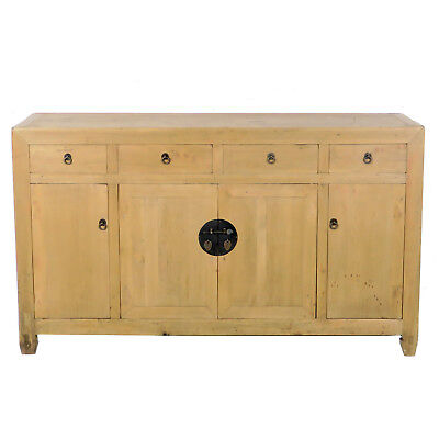 """Antique Chinese Scrubbed Pine 61"""" Long Sideboard Buffet Cabinet"""