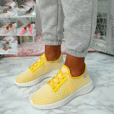 Womens Ladies Lace Up Mesh Trainers Sneakers Casual Comfy Running Shoes