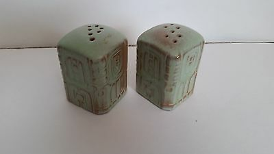 Frankoma Pottery Mayan-Aztec Salt & Pepper Shakers Prairie Green