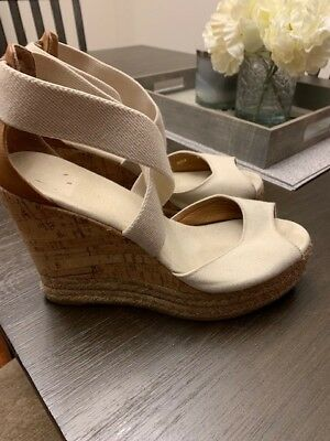 402c6c4c713c NIB TORY BURCH Peep Toe Canvas Platform Cork Wedge Sandal Shoes Size 8.5