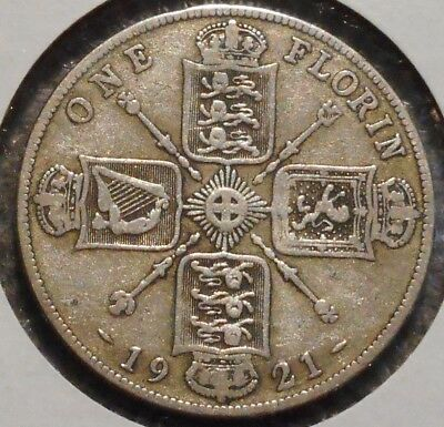British Florin - 1921 - King George V - $1 Unlimited Shipping -03