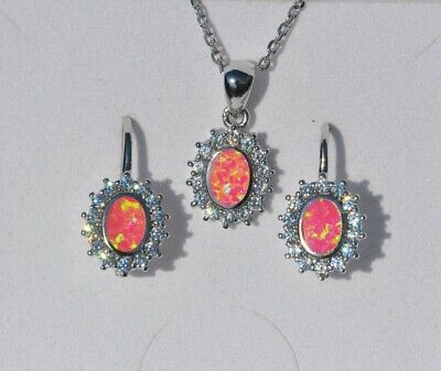 925 Sterling Silber Set Ohrringe Anhänger Zirkonia synth Opal rosa crystal 205