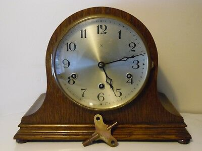 Vintage Antique Large German Mantel Clock with Westminster Chime + Key Working