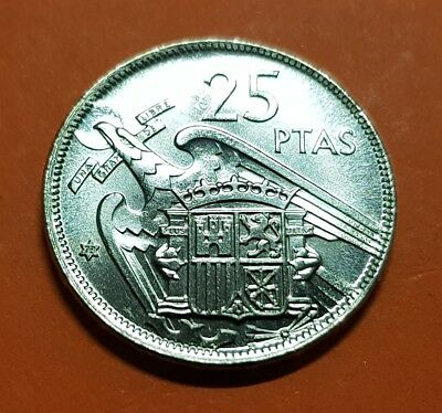 100% ORIGINAL 25 PESETAS 1957 * 73 PROOF moneda de nickel España FRANCO 1973