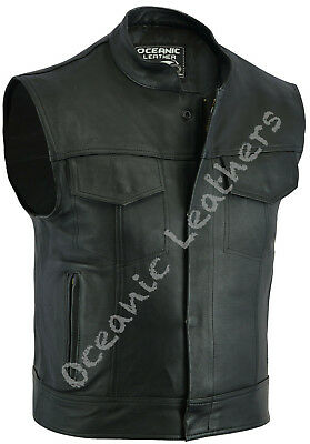 Cut Off Full Real Leather Motorcycle Motorbike Trucker Anarchy Waistcoat Vest