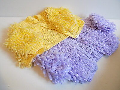 Baby girls 2 chunky knit loopy hand knitted cardigan size 12-18 months VGC   sd1