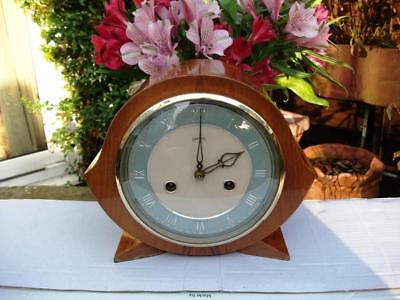 Superb Smiths 8 Day Striking Mantel Clock. Walnut Case. 1956. Fully Overhauled.