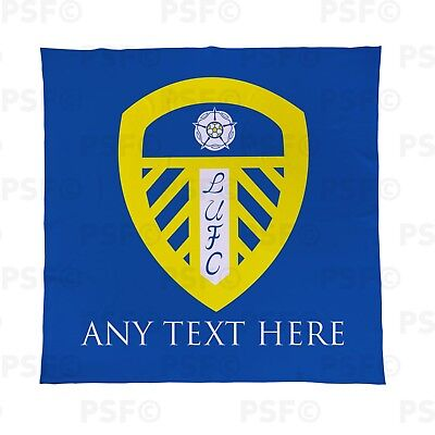 Leeds United FC Official Personalised Single Crest Blue Fleece Blanket LFB001