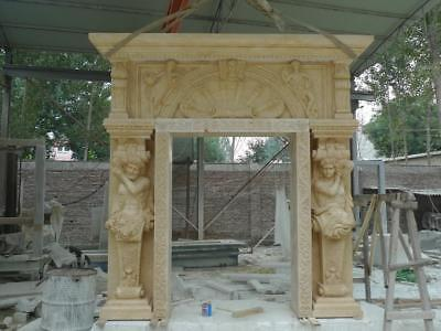 Beautiful Hand Carved Marble Figurative Estate Mansion Entryway - Mew96