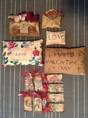 Lot Of 13 Primitive Tea Stained Valentines Decor