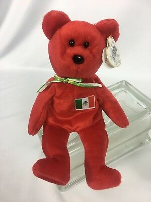 """Ty Beanie Baby Babies """"Osito"""" Mexico Flag Mint with Tags 1999"""