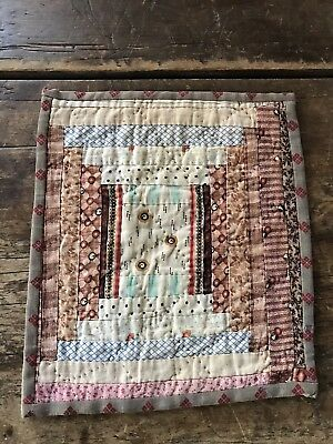 Early Antique Brown Calico Log Cabin Candle Mat Table Quilt Square AAFA LAST ONE
