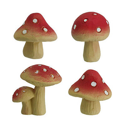 Miniature Dollhouse FAIRY GARDEN - Mini Red Mushrooms - Set of 4 - Accessories