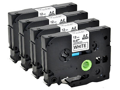 4PK TZe-231for Brother 12mm Label Tape Black on White P-touch D210 D400 D450