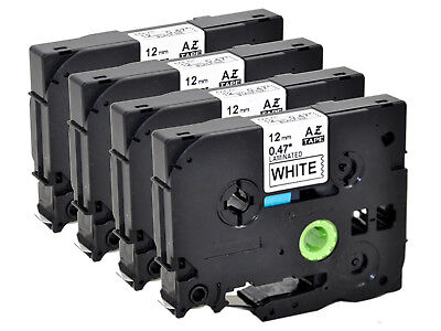 4PK TZe-231for Brother 12mm Label Tape Black on White P-touch D210 D450 D600