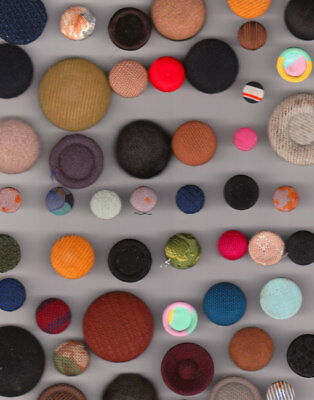 50 FABRIC SEWING BUTTONS mix lot of material,  VINTAGE & ANTIQUE no 2