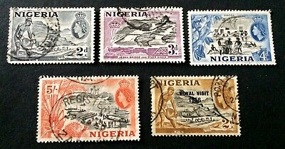 5 old used stamps Nigeria 1953 + 1956