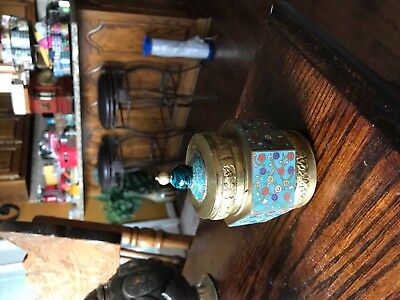 Antique Chinese Cloisonne and Brass Tea Caddy Jar With Blue Peking Glass