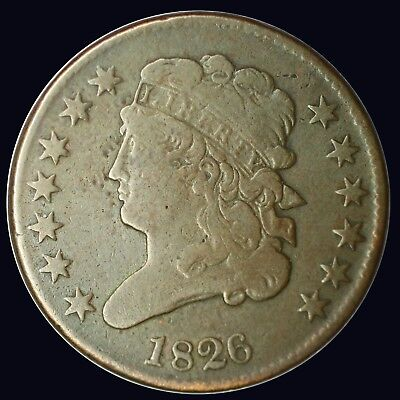 {DO922B} 1826 Half Cent Coin F+