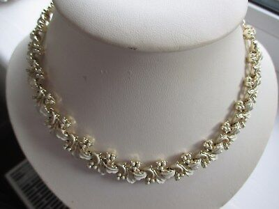 Vintage Cream Enamel and Gold Tone Leaf Necklace by Jewelcraft (unsigned)