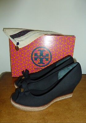 810a5b7dbd08 NEW 9 TORY Burch Jackie Peep Toe Espadrille Open Toe Platform Wedge ...